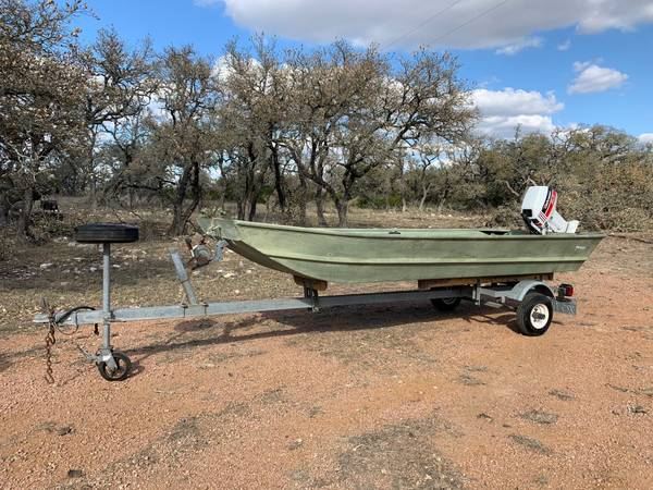 Photo 1239 Fisher Jon Boat, Johnson Outboard  Trailer Package - $2,100 (Fredericksburg)