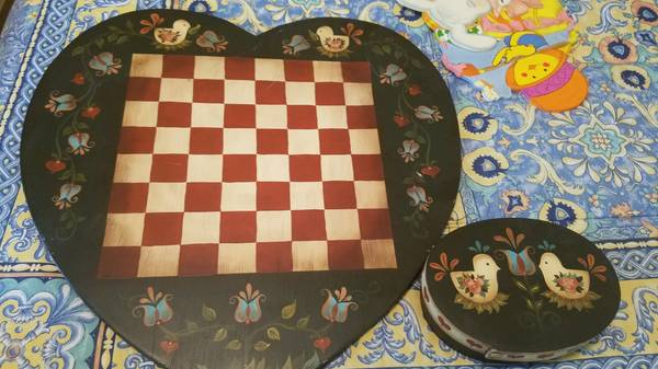 Photo Hand painted Checker Board with 24 pieces - $125 (West Plano)