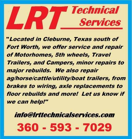 RVTravel TrailerMotorhome Service at the Big Red Barn (Cleburne)