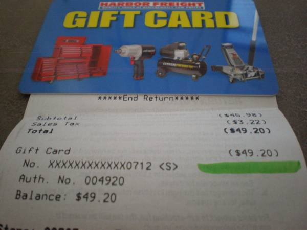 Photo HARBOR FREIGHT GIFT CARD 49.20 for 40 - $40 (des moines)