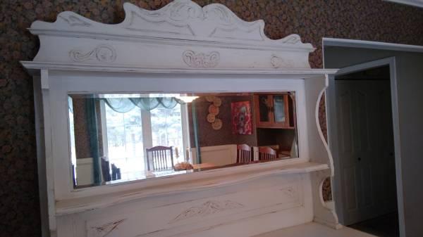 Photo Distressed white buffet with mirrored hutch - $375 (Klamath Falls)