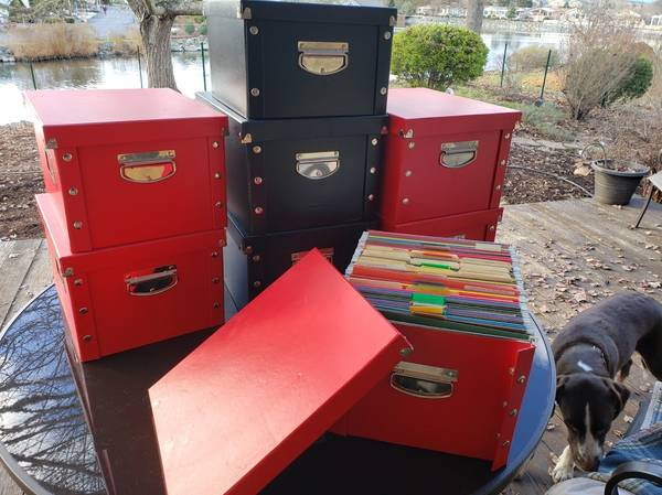 Photo LOT 8 Letter Size Snap-N-Store File Boxes Black and Red Heavy Duty - $115 (Grants Pass)