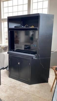Photo Pottery Barn Logan Corner Cabinet TV Stand Hutch - $100 (Klamath Falls)