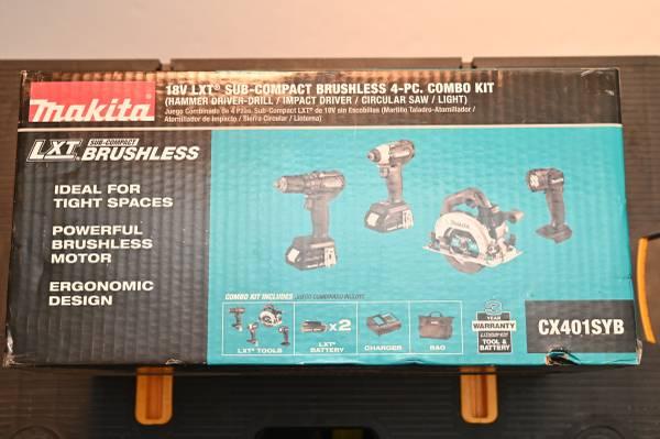 Photo Makita 18V Subcompact Brushless 4 Tool Combo Kit - $230 (Farragut)