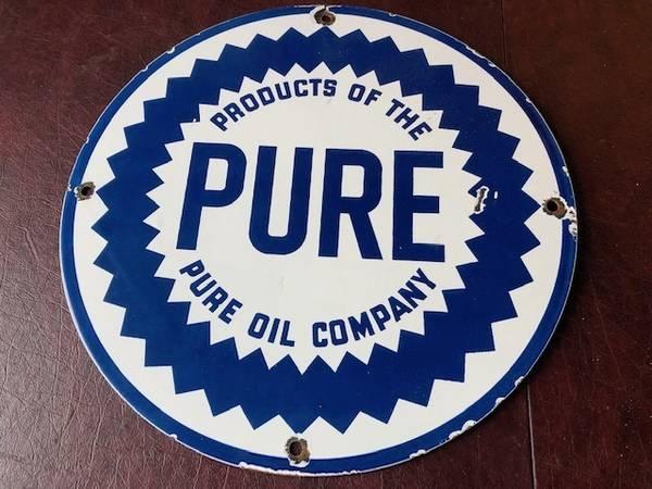 Photo Vintage Porcelain 39Pure39 Motor Oil gas pump plate - $75 (Clinton, TN)