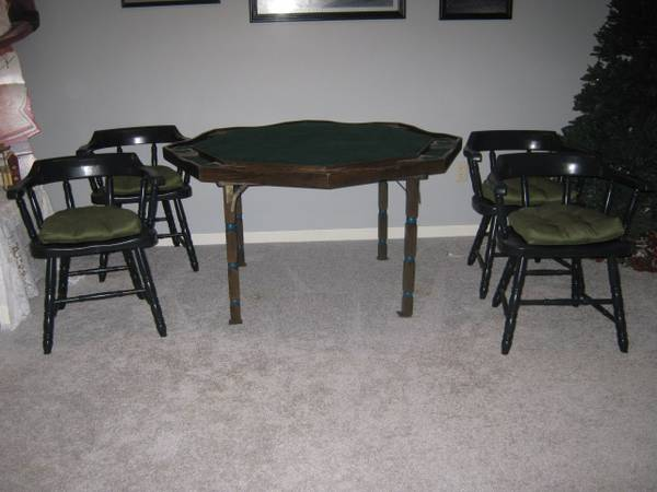 Photo Poker Table with 7 Hardwood Chairs - $300 (Plymouth)