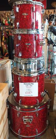 Photo Used 5 pc. Red Pearloid Percussion Plus Drum Set wHardware  Cymbals - $329 (Avon)