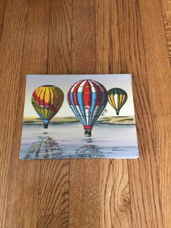 Photo Vintage Hot Air Balloons Serigraph On Canvas Painting By H Hargrove - $30 (Broad Ripple)