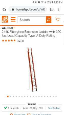 Photo 24 ft. Fiberglass Extension Ladder with 300 lbs. Load Capacity - $225 (Kennewick)