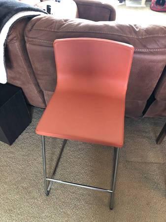 Photo IKEA bernhard leather burnt orange stool - $40 (West Pasco)