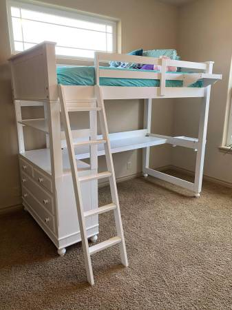 Photo Like New Loft Bed with Desk (or twin over full bunk bed) - $900 (Kennewick)