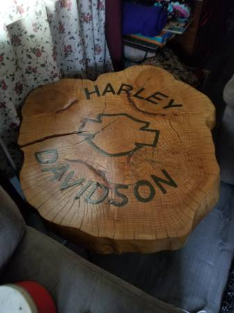 Photo Harley Davidson Log Table - $300 (Wamego)