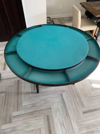 Photo ANTIQUE  VINTAGE Round Poker Table, collapsible legs - $75 (Onalaska)