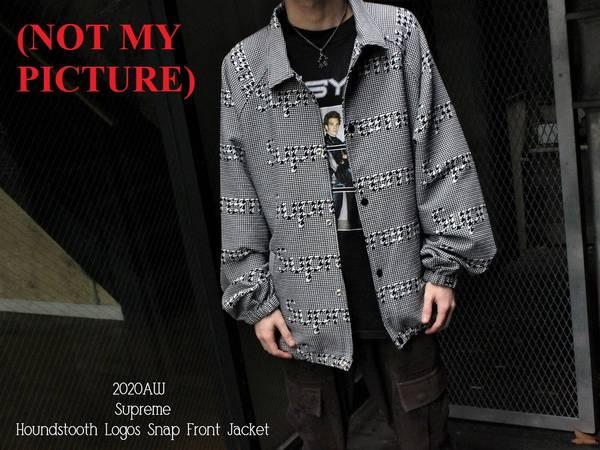 Photo UNOPENED Supreme Houndstooth Logos Snap Front Jacket (Black) - $280 (La Crosse)