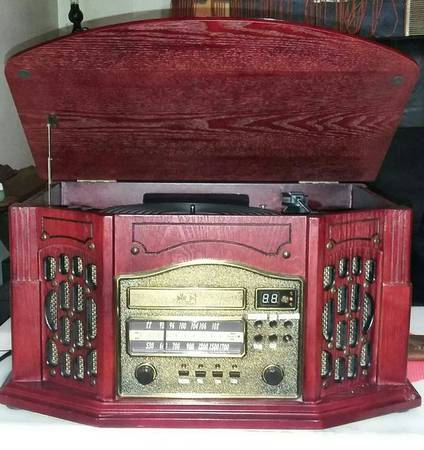 Photo AMFM radio, cassette tape, CD, record player ALL-IN-ONE wood Cabinet - $50 (New Orleans)
