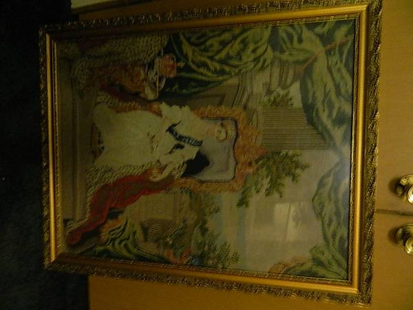 Photo Antique Needlepoint Woolwork Sler Framed wGlass QUEEN 30quotx 38quot - $295 (Lake City)
