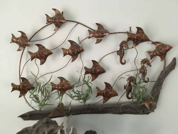 Photo Large aquatic ocean metal art work with fish and seahorses - $40