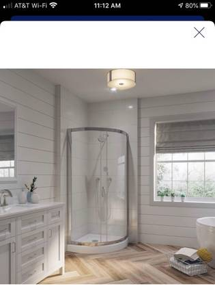 Photo NEW Ove Decors Breeze Corner Round 2pc Bathroom Shower Kit Chrome - $550 (Palm Valley)