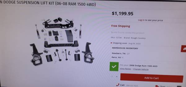 Photo Rough Country 6 inch lift for 2006-2008 Dodge 1500 - $600
