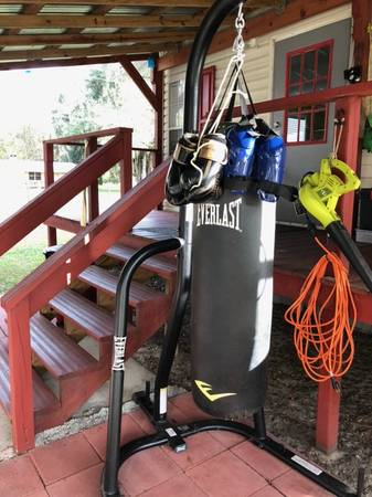 Photo heavy bag, stand, gloves  kick pads NEW - $157 (Inglis)