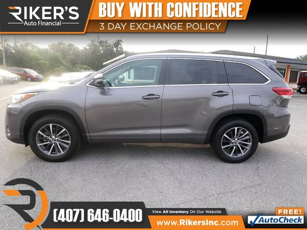Photo $369mo - 2018 Toyota Highlander XLE - 100 Approved - $369 (Rikers Auto Financial)
