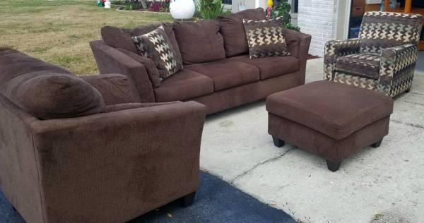 Photo Four Piece Dark Brown American Furniture Living Room Set - $500 (Lakeland)