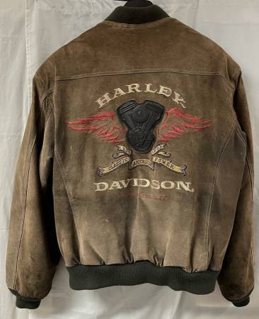 Photo Harley Davidson Large Mens Suede Leather Motorcycle Jacket - $50