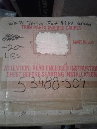 Photo New 68-71 ford torino 4 speed green loop carpet trim parts usa (East LAKE WALES fl)