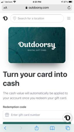 Photo Outdoorsy $2000 gift card - $1,800 (Haines City)