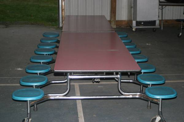 Photo ,,,,,,,, Fold Up, 12ft Cafeteria Tables w Seats (Ta Bay)