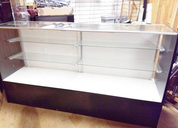 Photo 2 gently used 6ft retail display cases Black and Glass - $225 (Lititz)