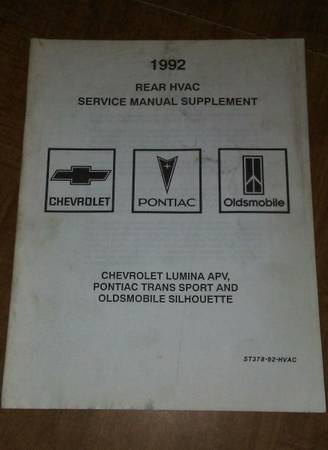 Photo 92 Rear HVAC Service Manual Chevy Lumina APV,Pontiac Trans Sport,Olds - $5 (new providence, PA)