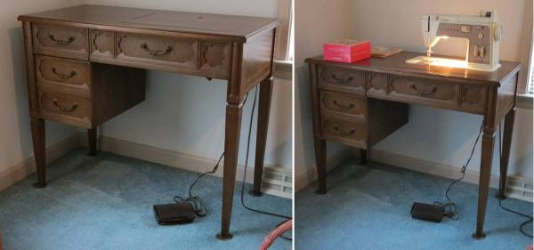 Photo Singer Sewing Machine with Drop-Down Table - $140 (Delta)