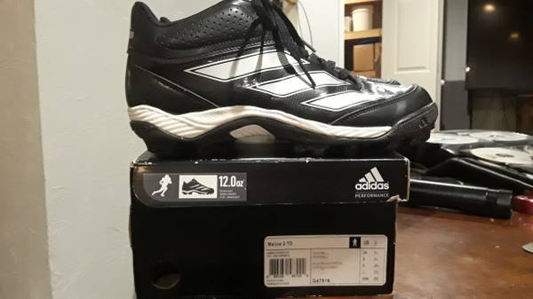 Photo Adidas Football Cleats Shoes Malice Mens 9 Black White 12 oz sneakers - $20 (Holt)