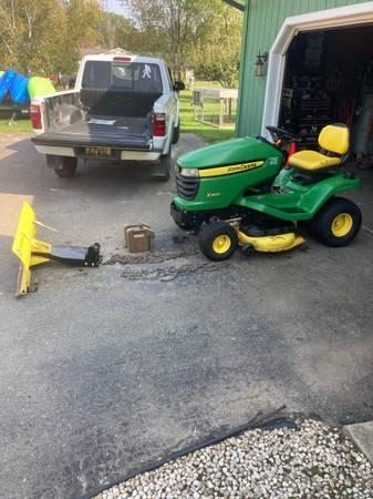Photo John Deere rider mower riding lawn garden tractor snow plow - $1,700 (Fowlerville)