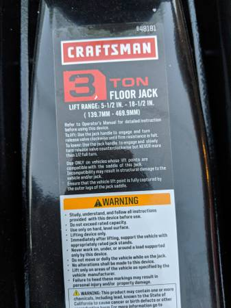 Photo Craftsman 3 ton floor jack - $90 (Laredo, Tx)