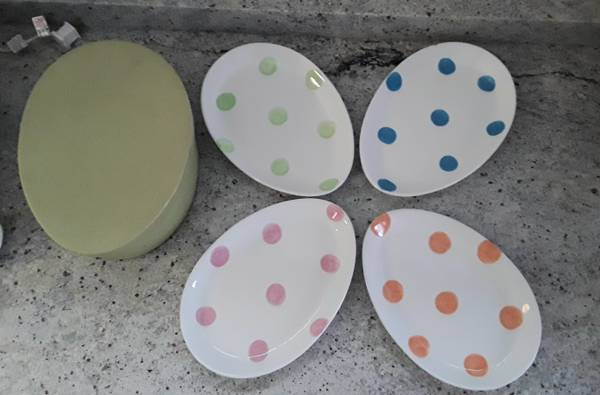 Photo Easter plates, egg-shaped, 4 total with original box all for $10 - $7 (Beverly Morgan park Chicago)