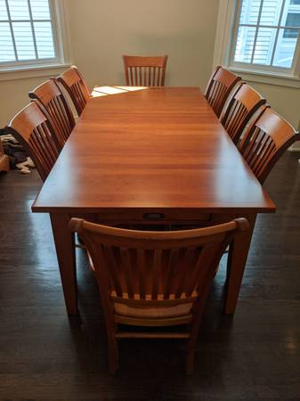 Photo Nichols  Stone Solid Cherry Dining Table  Chairs - $4,900 (Chicago)