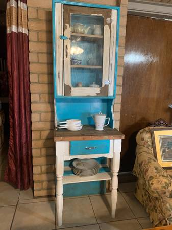 Photo Blue and white solid wood rustic hutch with glass cabinet and drawer - $300 (Anthony, NM)