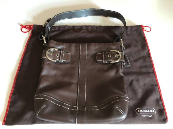 Photo Coach Chocolate Leather Hobo Handbag - $37 (Las Cruces)