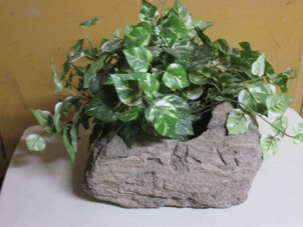 Photo Decorative Realistic Looking Rock Pot With Artificial Plant- (Hend.) - $20 (Arts And Crafts - By Owner)