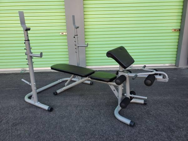 Weight Bench Adjustable Squat Rack Preacher Curls Leg Extensions New And Assembl - $299 (North Las Vegas)