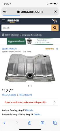 Photo Gas tank American Motors AMX Base Concord, Eagle, Hornet - $45 (Blue Springs)