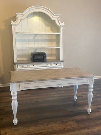 Photo Antique Distressed White Writing Desk and Hutch with Lateral Files - $1,500 (Plano)