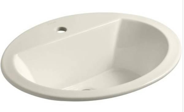 Photo Kohler 2699-1-96 Bryant Biscuit Colored Drop-in Oval Bathroom Sink New - $60 (Krugerville)