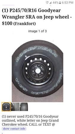 Photo (1) P24570R16 Goodyear Wrangler SRA on Jeep wheel - $100 (Frankfort, Ky)