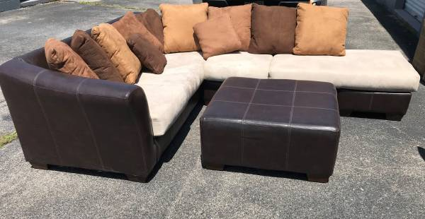 Photo Durahide Sectional Couch and Loveseat with Ottoman - $750 (Versailles)