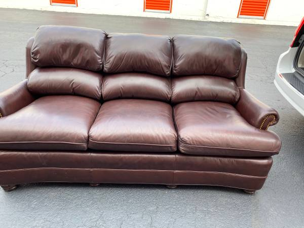 Photo Hancock  Moore leather sofa  chair - $1200 (Lexington)