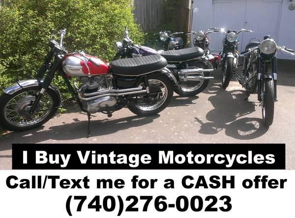 Photo Collector Buying OLD MOTORCYCLES Any Condition calltext (740)276-0023 (Kawasaki Z1 H2 H1 Honda CB750 CBX Triumph Norton BMW BSA)