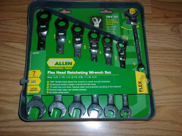 Photo SAE Allen Industrial Tools 7 PCS Flex Head Ratcheting Wrench Set - $65 (Findlay)